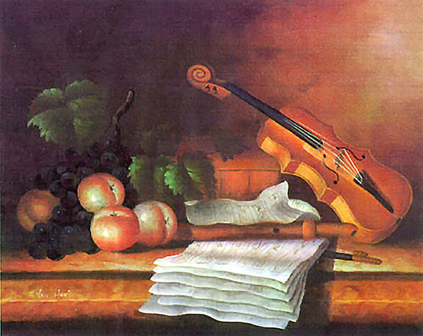 Still Life with Violin  - Collection d'Art Needlepoint Canvas