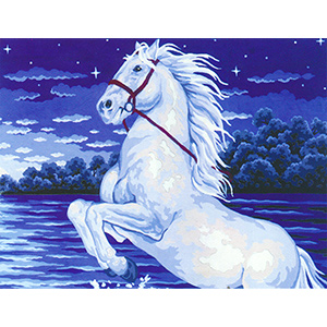 White Horse on a Starry Night  - Collection d'Art Needlepoint Canvas