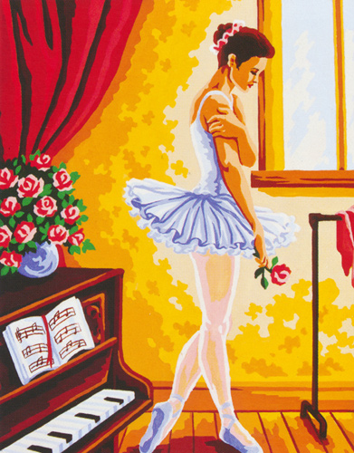 Ballerina in Thought  - Collection d'Art Needlepoint Canvas