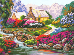 Beautiful Summer Cottage by the Brook  - Collection d'Art Needlepoint Canvas