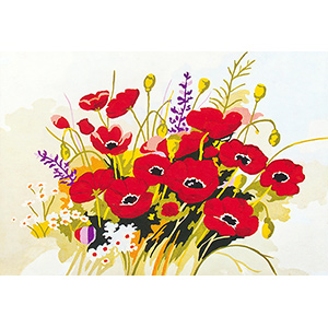 Poppy Bouquet  - Collection d'Art Needlepoint Canvas
