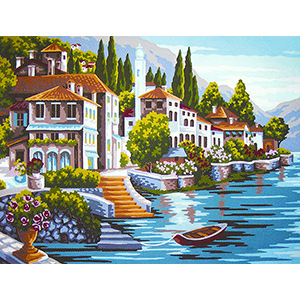 Beautiful Villa by the Sea - Collection d'Art Needlepoint Canvas