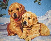 Golden Puppies  - Collection d'Art Needlepoint Canvas