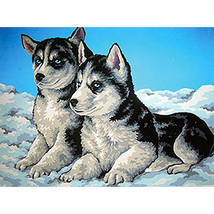Huskie Puppies  - Collection d'Art Needlepoint Canvas