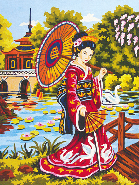 Geisha II  - Collection d'Art Needlepoint Canvas