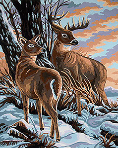 Mirror Image (Doe and Buck)  - Collection d'Art Needlepoint Canvas