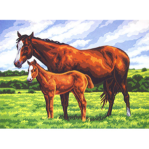 Mare and Colt  - Collection d'Art Needlepoint Canvas
