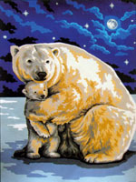 Polar Bear Hug  - Collection d'Art Needlepoint Canvas