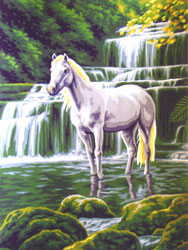White Horse at Waterfall  - Collection d'Art Needlepoint Canvas
