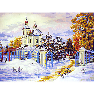 Russian Church in Winter  - Collection d'Art Needlepoint Canvas