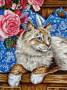 Cat Among the Cups  - Collection d'Art Needlepoint Canvas
