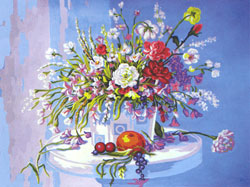 Table of Flowers and Fruit  - Collection d'Art Needlepoint Canvas