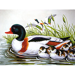 Duck Family Swimming  - Collection d'Art Needlepoint Canvas
