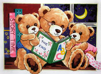 Teddy Bear Bedtime Story  - Collection d'Art Needlepoint Canvas