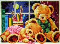 Teddy Bears Sleeping  - Collection d'Art Needlepoint Canvas