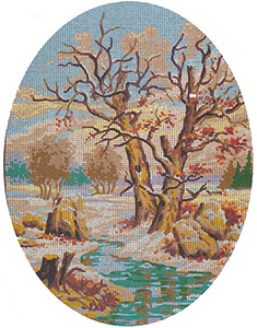Winter Scene Cameo - Collection d'Art Needlepoint Canvas
