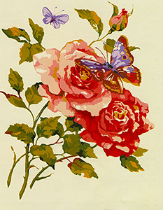 Butterflies and Roses  - Collection d'Art Needlepoint Canvas