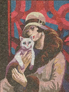 Lady & the White Cat  - Collection d'Art Needlepoint Canvas