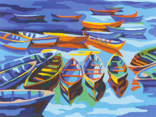 Boats on the Beach  - Collection d'Art Needlepoint Canvas