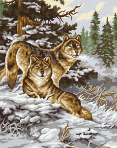 Snow Wolves  - Collection d'Art Needlepoint Canvas