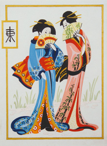 Geisha Pair  - Collection d'Art Needlepoint Canvas