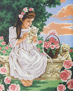 Girl & Kittens  - Collection d'Art Needlepoint Canvas
