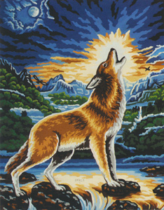 Howling Wolf  - Collection d'Art Needlepoint Canvas