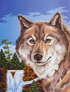 Wolf Portrait  - Collection d'Art Needlepoint Canvas