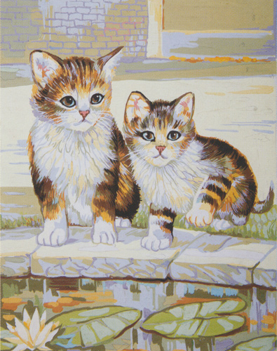 Kittens Playing  - Collection d'Art Needlepoint Canvas