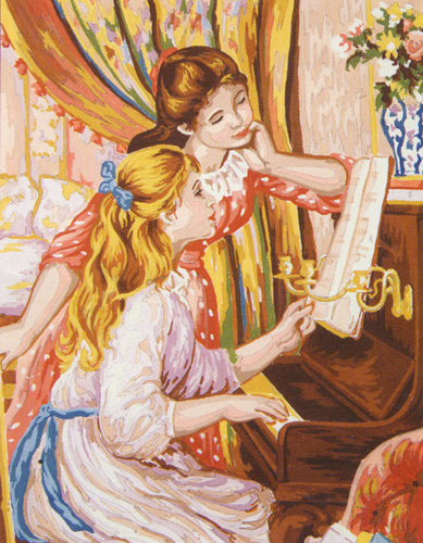 Girls at the Piano (Renoir)  - Collection d'Art Needlepoint Canvas