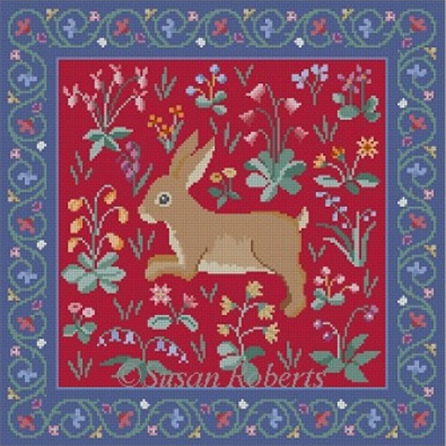 Susan Roberts Needlepoint Designs - Cluny Rabbit Red