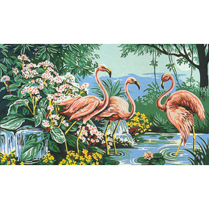 Margot Creations de Paris Needlepoint (Flamants Roses) Pink Flamingos Medium Needlepoint Canvas