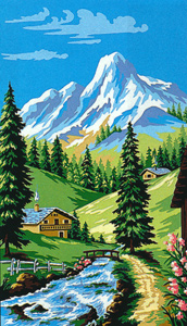Margot Creations de Paris Needlepoint (La Montagne) The Mountain Medium Needlepoint Canvas