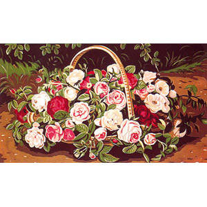 Margot Creations de Paris Needlepoint (Panier de Roses) Basket of Roses Medium Needlepoint Canvas