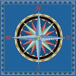 Susan Roberts Needlepoint Designs - Hand-painted Canvas - Nautical Compass Canvas