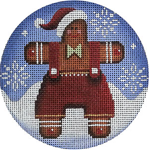 Gingerbread Man Hand Painted Christmas Ornament Canvas from Rebecca Wood