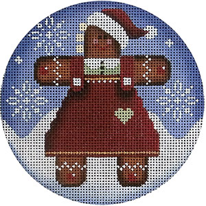 Gingerbread Woman Hand Painted Christmas Ornament Canvas from Rebecca Wood