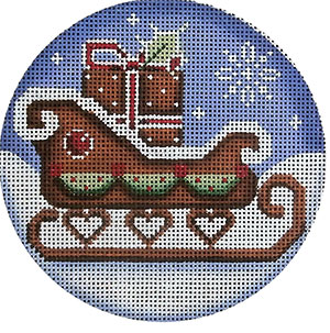 Gingerbread Sled Hand Painted Christmas Ornament Canvas from Rebecca Wood