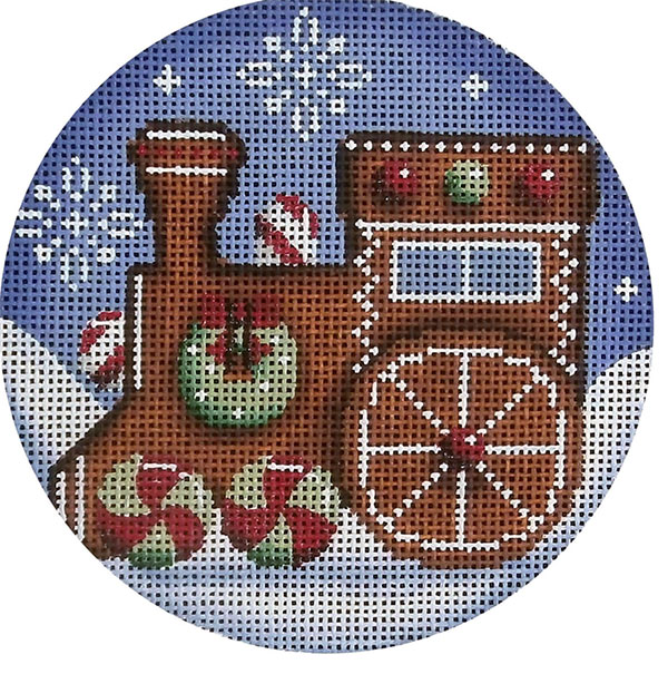Gingerbread Engine Hand Painted Christmas Ornament Canvas from Rebecca Wood