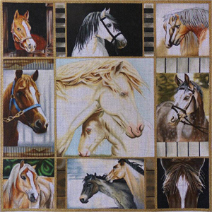 Horse Collage Hand Painted Needlepoint Canvas