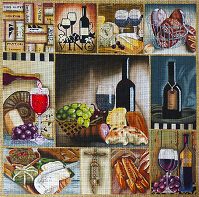 Wine & Cheese Collage Hand Painted Needlepoint Canvas