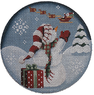 Bye Bye Hand Painted Christmas Ornament Canvas from Rebecca Wood