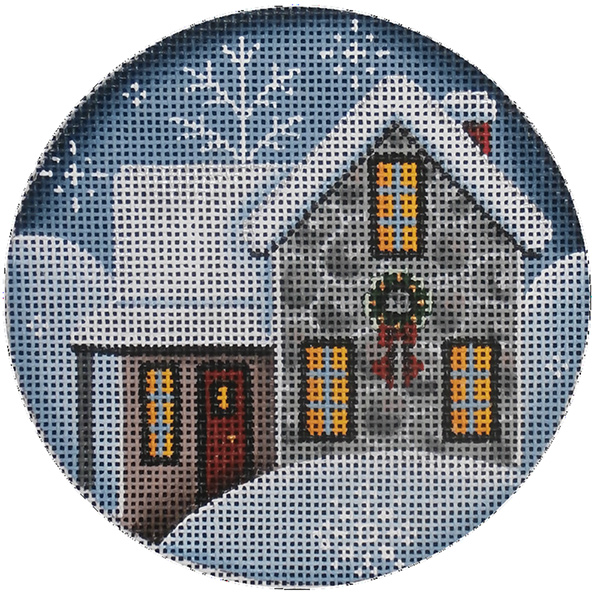 Rock Cottage Hand Painted Christmas Ornament Canvas from Rebecca Wood