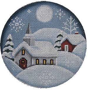 Country Church Hand Painted Christmas Ornament Canvas from Rebecca Wood