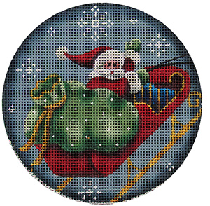 Santa and Sleigh Hand Painted Christmas Ornament Canvas from Rebecca Wood