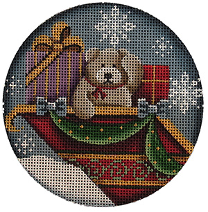 Teddy in the Sleigh Hand Painted Christmas Ornament Canvas from Rebecca Wood