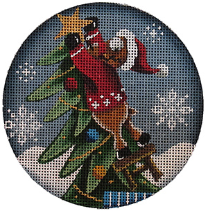 The Reach Hand Painted Christmas Ornament Canvas from Rebecca Wood