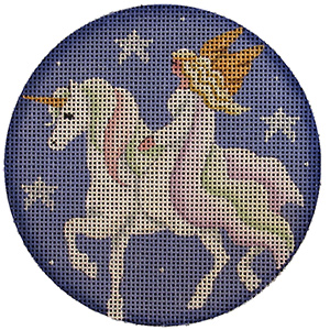 Unicorn Ride Hand Painted Christmas Ornament Canvas from Rebecca Wood
