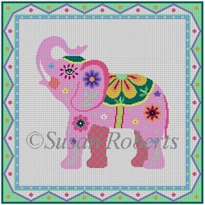 Susan Roberts Needlepoint Designs - Hand-painted Canvas - Pink Lucky Elephant - 18 Count