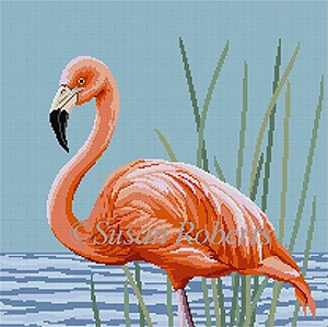 Susan Roberts Needlepoint Designs - Hand-painted Canvas -  Flamingo